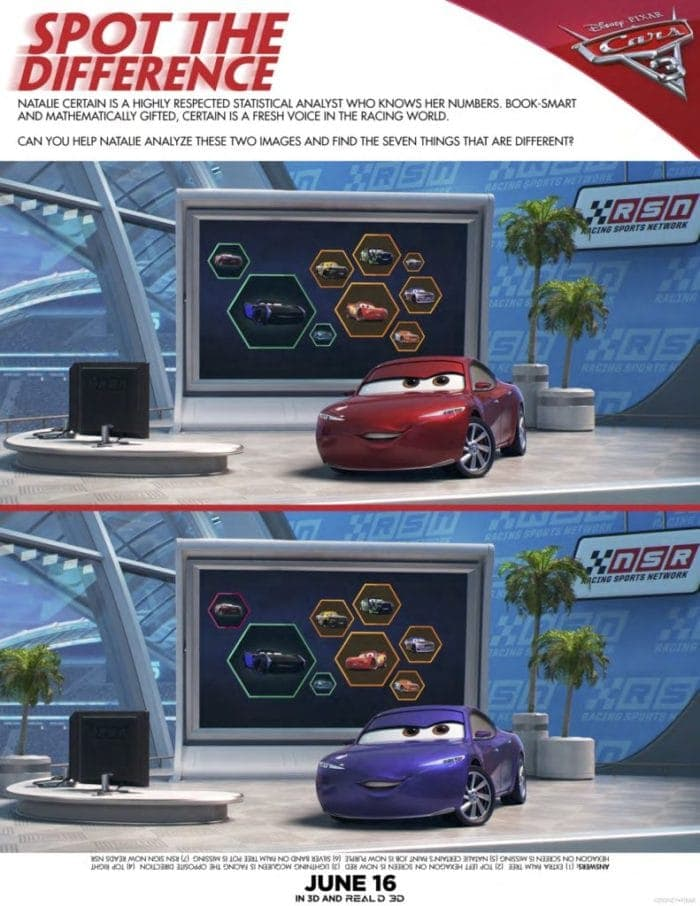 CARS 3 Activity Sheets Spot the Difference
