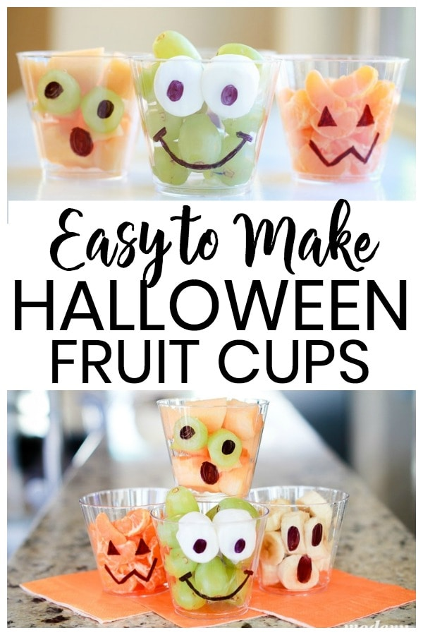 You don't need a Halloween spell to make these simple DIY Halloween fruit cups. This is the easiest Halloween party treat to make for kids. It's a healthy halloween treat for everyone.