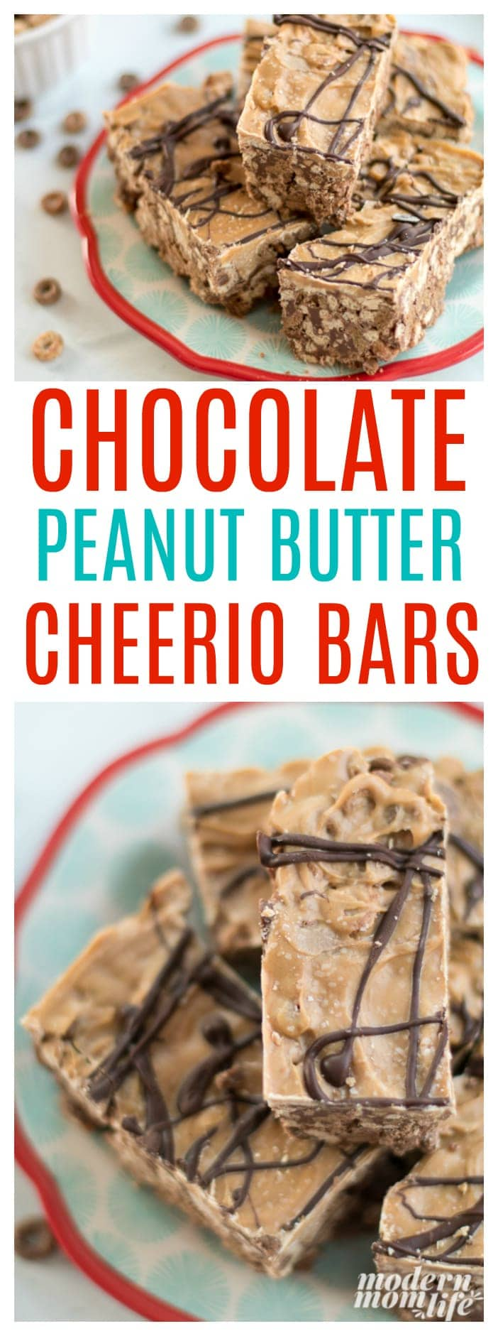 Chocolate Peanut Butter Cheerio Bars Pin