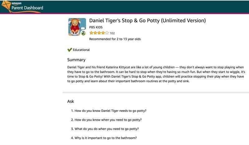 Amazon Parent Dashboard Conversation Starter