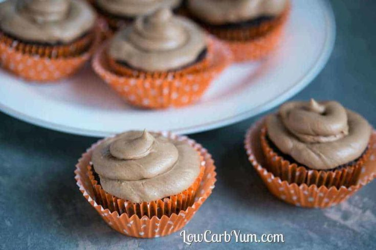 Nutella Frosting on Chocolate Low Carb Cupcakes